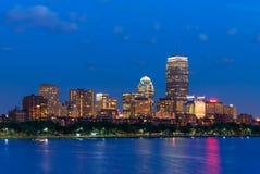 Boston plecy zatoki linia horyzontu przy nocą, usa Obraz Stock