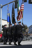 Boston Police Honor guard, St. Patrick's Day Parade, 2014, South Boston, Massachusetts, USA Stock Images