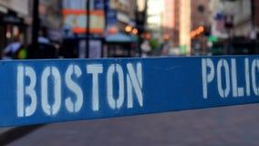 Boston Police Sign. A Police Barricade At A Crime Scene In Boston USA stock video