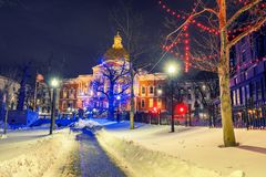 Boston public garden and state house at night stock photography