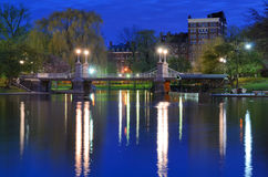 Boston Public Gardens. Lagoon Bridge at the Boston Public Gardens in Boston, Massachusetts Stock Images