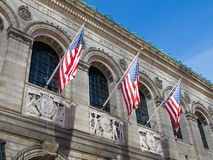 Boston Public Library. Exterior view of Boston Public Library from Copley Square Stock Images