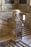 Boston Public Library. Lion in Main staircase of historic Boston Public Library, McKim Building, Boston, MA Stock Image