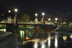Boston public park bridge at night. A shot of boston public park at night Stock Images