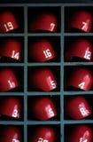 Boston- Red Soxbaseball-Sturzhelme Stockfoto