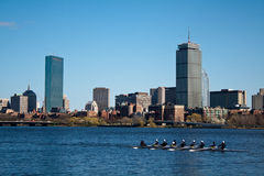 Boston Rowers. A view of the Charles River and Boston during the day royalty free stock photos