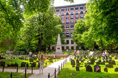 Boston's Freedom trail with Granary Burying Ground. BOSTON - MAY 30: Boston's Freedom trail with Granary Burying Ground on May 30, 2014. The Freedom Trail is a 2 royalty free stock photos