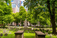 Boston's Freedom trail with Granary Burying Ground Royalty Free Stock Images