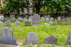 Boston's Freedom trail with King's Chapel & Burying Ground Royalty Free Stock Photo