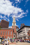 Boston's Freedom trail with the Park Street Church in the backgr Stock Photos