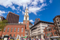 Boston's Freedom trail with the Park Street Church in the backgr Royalty Free Stock Photos