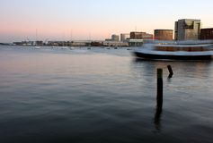 Boston's harbor at sunset Royalty Free Stock Images