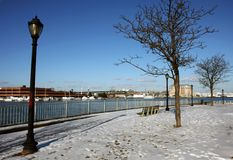 Boston's harbor in winter Royalty Free Stock Images