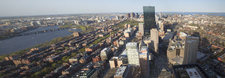 Boston's panoramic view as it is seen from Prudential tower Royalty Free Stock Image