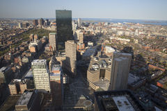 Boston's sunset panoramic view as it is seen from Prudential tower Royalty Free Stock Photography