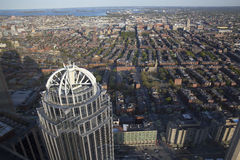 Boston's sunset panoramic view as it is seen from Prudential tower Stock Photos