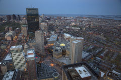 Boston's sunset panoramic view as it is seen from Prudential tower Royalty Free Stock Image