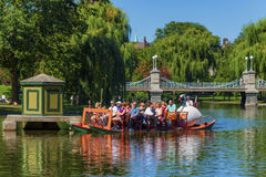Boston`s Swan Boat on pond royalty free stock photo