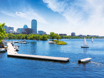Boston sailboats Charles River at The Esplanade. Boston sailboats of Charles River at The Esplanade in Massachusetts USA Stock Image