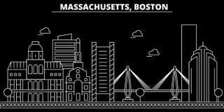Boston-Schattenbildskyline USA - Boston-Vektorstadt, amerikanische lineare Architektur, Gebäude Boston-Reiseillustration lizenzfreie abbildung