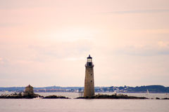 Boston schronienia latarnia morska jest starym latarnią morską w Nowa Anglia Zdjęcia Royalty Free