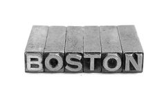 BOSTON sign, antique metal letter type Stock Photo