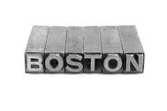 BOSTON sign, antique metal letter type Stock Photo