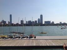 Boston sikt från Cambridge Fotografering för Bildbyråer