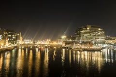 Boston skinande nattljus arkivbild