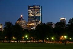 Boston Skyline. The Boston skyline at night, from the Boston Common stock photos