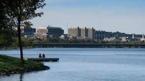 Boston skyline. Scenic view of Boston skyline viewed over Charles river, Massachusetts, U.S.A Stock Image