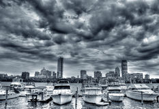 Boston Skyline. In Black and White royalty free stock photography