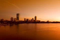 Boston Skyline. At sunset looking across the Charles River Stock Images