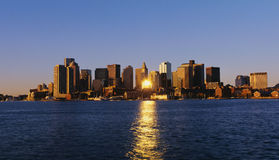 Boston skyline. This is the skyline and with the waterfront in view in morning light stock photography