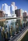 Boston skyline. Boston city skyline overlooking river royalty free stock photo