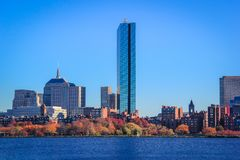 Boston Skyline, from across the Charles River stock images