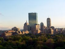 Boston Skyline in the afternoon. Image shows detail of skyscrapers in Boston's Back Bay skyline and a portion of Boston Common Royalty Free Stock Photography