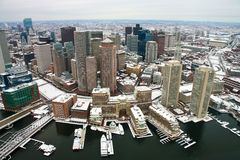 Boston Skyline from Air. Boston, as seen from a helicopter, with boats in the harbor Stock Photo