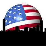 Boston skyline with American flag sphere Royalty Free Stock Images