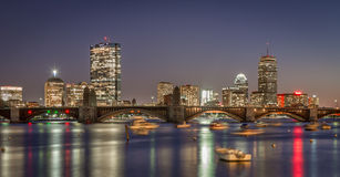 Boston Skyline And The Longfellow Bridge In Sunset Royalty Free Stock Image