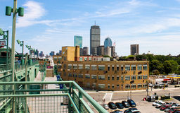 Boston Skyline as seen from Fenway Park. Standing on the first base side of Fenway Park, you can see the landmark Prudential building stock photos