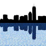 Boston skyline with binary Royalty Free Stock Image