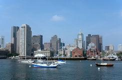 Boston Skyline with boats. Boston has a very nicely maintained waterfront and a harbor full of boats Royalty Free Stock Photos