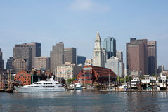 Boston Skyline with boats Stock Photo