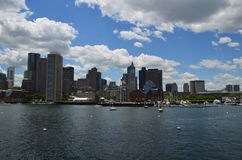 Boston Skyline and Boston Harbor in the Summertime. A beautiful summer day with views of Boston and Boston Harbor royalty free stock photo