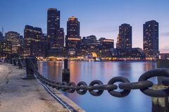 Boston, Skyline of Boston at sunset stock images