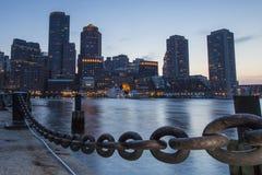 Boston, Skyline of Boston at sunset stock image