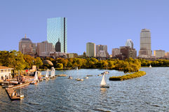 Boston Skyline from Cambridge. Sailboats in Charles River, around the Esplanade Stock Images