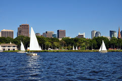 Boston skyline from Charles river Royalty Free Stock Image