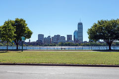 The Boston skyline and Charles River from Cambridge, Massachuset Stock Photography